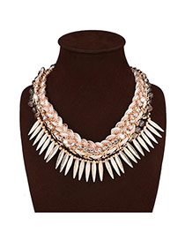 Personality White Metal Leaf Tassel Decorated Hand-woven Double Layer Necklace