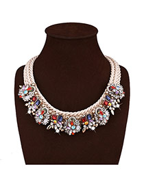 Delicate Multi-color Diamond Decorated Hand-woven Short Chain Necklace