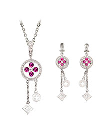 Delicate Silver Color Diamond Decorated Hollow Out Pendant Decorated Tassel Jewelry Sets