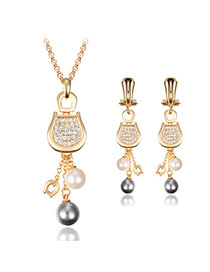 Elegant Gold Color Diamond Decorated Letter U Shape Pendant Decorated Tassel Jewelry Sets