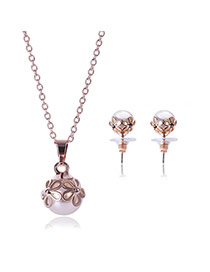 Delicate Rose Gold Big Pearl Pendant Decorated Long Chain Jewelry Sets