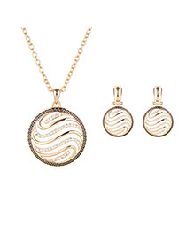 Delicate Rose Gold Hollow Out Round Shape Pendant Decorated Long Chain Jewelry Sets