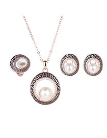 Elegant Rose Gold Pearl Decorated Hollow Out Pendant Jewelry Sets