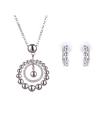 Delicate Silver Color Two Round Shape Pendant Decorated Long Chain Jewelry Sets