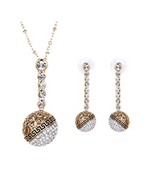 Delicate Gold Color Round Shape Decorated Hollow Out Pendant Long Chain Jewelry Sets