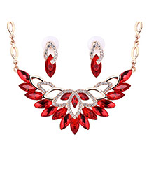 Delicate Red Oval Diamond Decorated Hollow Out Jewelry Sets