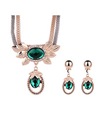 Luxury Green Round Shape Diamond Pendant Decorated Long Chain Jewelry Sets