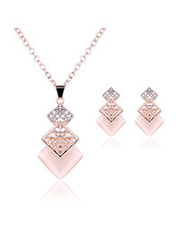 Delicate Rose Gold Three Square Shape Pendant Decorated Long Chain Jewelry Sets