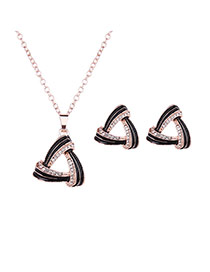Vintage Black Hollow Out Triangle Pendant Decorated Long Chian Jewelry Sets