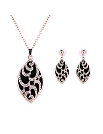 Vintage Black Diamond Decorated Oval Shape Pendant Long Chain Jewelry Sets