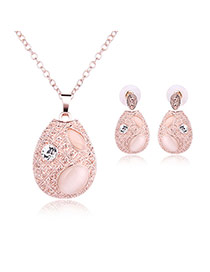 Fashion Rose Gold Round Shape Pendant Decorated Long Chain Jewelry Sets