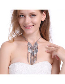 Vintage Silver Tassel Decorated Long Chain Simple Necklace