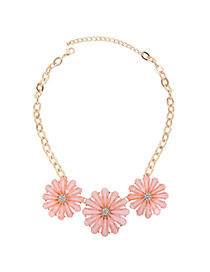 Sweet Pink Three Hollow Out Flower Decorated Simple Necklace