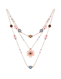 Elegant Multi-color Flower&gemstone Decorated Double Layer Necklace