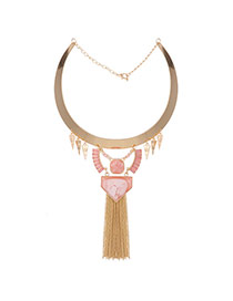 Exaggerated Pink Tassel&geometric Gemstone Decorated Collar Necklace