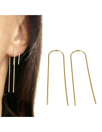 Elegant Gold Color Pure Color Design U Shape Simple Earrings