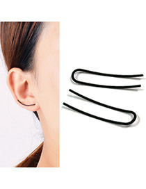 Elegant Black Pure Color Design Curved Shape Earrings