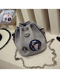 Fashion Gray Badge Pattern Decorated Bucket Shape Design Shoulder Bag