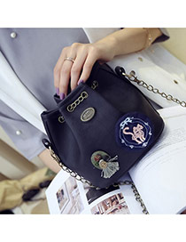 Fashion Black Badge Pattern Decorated Bucket Shape Design Shoulder Bag