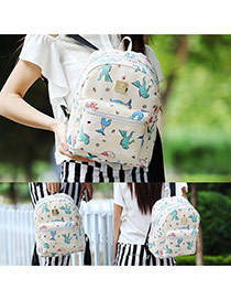 Lovely White Cartoon Pattern Decorated Simple Design Backpack
