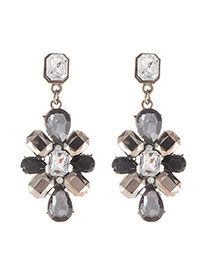 Luxury Black Square&waterdrop Gemstone Decorated Simple Earring