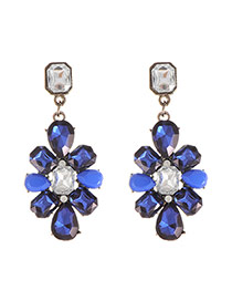 Luxury Blue Geometric Shape Decorated Simple Earring