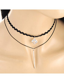 Fashion Black Letter I Pendant Decorated Double Layer Necklace