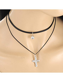 Fashion Black Metal Cross Pendant Decorated Double Layer Neckalce