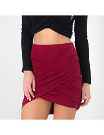 Sexy Red Pure Color Decorated Fold Cross Package Buttocks Skirt