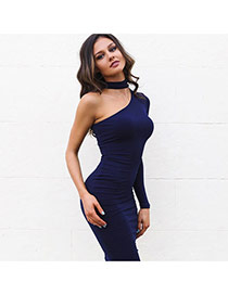 Sexy Navy Blue Long Sleeve Hanging Neck Decorated Irregulare Dress