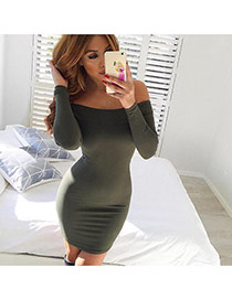 Sexy Dark Green Off-the-shoulder Decorated Long Sleeve Pure Color Dress