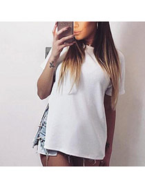 Sexy White Short Sleeve Decorated Pure Color Split T Shirt