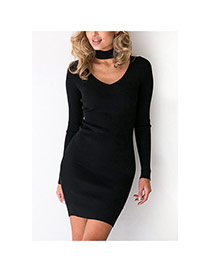 Sexy Black Heart Shape Neckline Decorated Long Sleeve Pure Color Dress