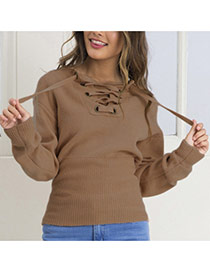 Sexy Coffee Bandage Neckline Decorated Long Sleeve Pure Color Sweater