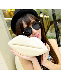 Sweet Beige Lip Shape Decorated Pure Color Shoulder Bag