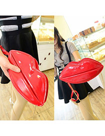 Sweet Red Lip Shape Decorated Pure Color Shoulder Bag