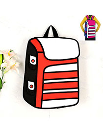 Cute Red Cartoon 3d Strip Pattern Decorated Simple Backpack