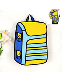 Cute Yellow Cartoon 3d Strip Pattern Decorated Simple Backpack