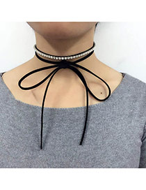 Retro Black Diamond Decorated Double Layer Simple Necklace