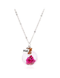 Lovely Plum-red Flower &square Shape Pendant Decorated Simple Long Chain Necklace
