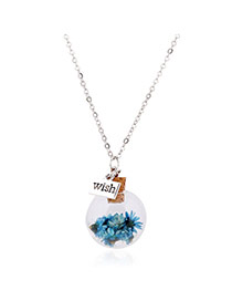 Lovely Blue Flower &square Shape Pendant Decorated Simple Long Chain Necklace