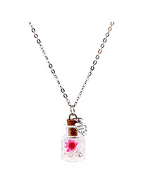 Lovely White Flower&heart Shape Pendnat Decorated Simple Long Chain Necklace