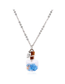 Lovely Blue Flower&heart Shape Pendnat Decorated Simple Long Chain Necklace
