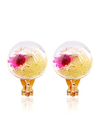 Sweet Yellow Flower &round Shape Decorated Simple Earrings