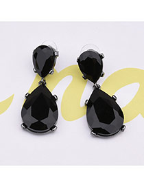 Elegant Black Oval Diamond Shape Pendant Decorated Simple Earrings