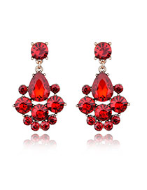 Delicate Red Round&oval Diamond Shape Decorated Simple Earrings
