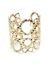 Fashion Gold Color Hollow Out Design Pure Color Patchwork Round Shape Opening Bracelet
