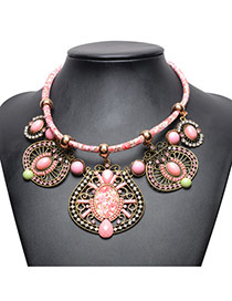 Vintage Pink Irregualr Shape Pendant Decorated Hand-woven Necklace
