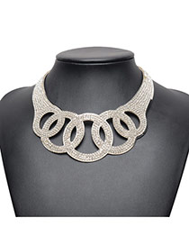 Elegant Silver Color Full Diamond Decorated Hollow Out Round Shape Necklace