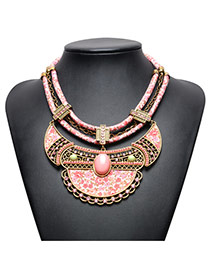 Vintage Pink Oval Shape Gemstone Decorated Double Layer Hand-woven Necklace